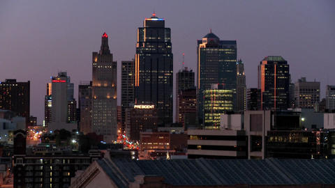 A night time view of the Kansas City, Missouri skyline Stock Video Footage