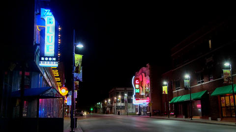 A night shot of an empty street in small town America Footage