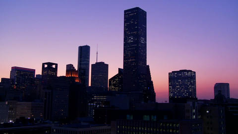 The Houston skyline at dusk Footage