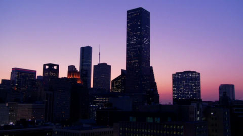 The Houston skyline at dusk Stock Video Footage