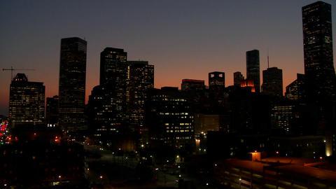 Pan across the Houston skyline at desk Stock Video Footage