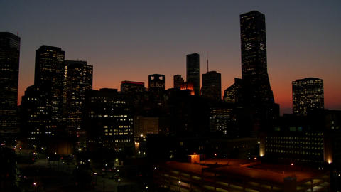 Pan across the Houston skyline at desk Stock Video Footage