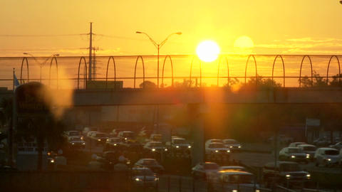 Time lapse of the morning commute as the sun rises Footage