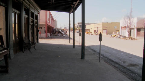 Pan across devastated Galveston street after Hurricane... Stock Video Footage