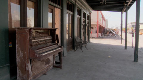 Pan across devastated Galveston street after Hurricane... Stock Video Footage
