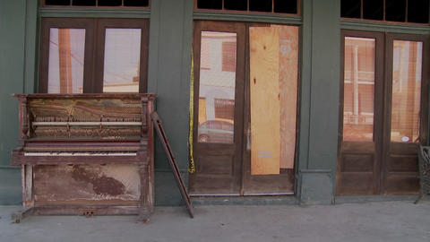An old piano sits in front of a Glaveston bar after Hurricane Ike Footage