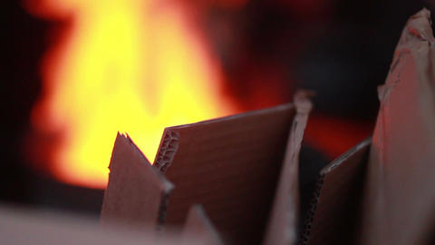 Poor people warming fire and cardboard boxes, winter lifestyle Footage