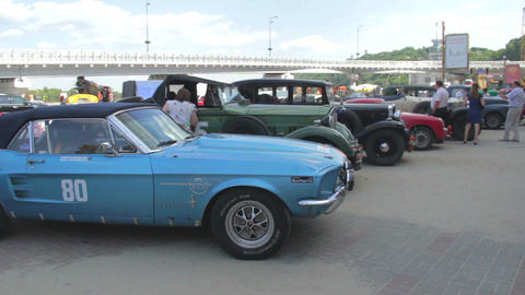 Vintage cars exhibition, retro car competition, old models Footage