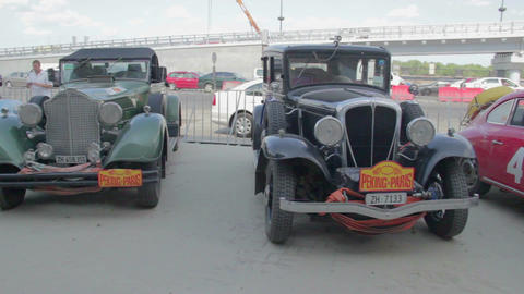 Old vehicles, vintage cars exhibition, retro car competition Footage