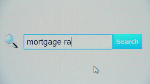 Mortgage rates - browser search query, Internet web page Footage