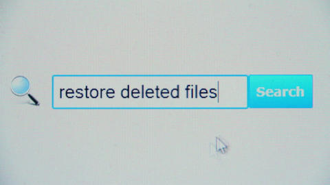 Restore deleted files - browser search query, Internet web page Footage