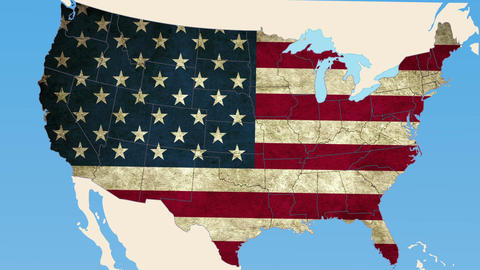 Washington state pull out, smooth USA map, all states... Stock Video Footage