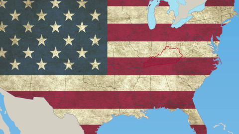 Kentucky pull out, smooth USA map, all states available Footage