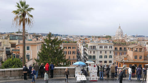 View from the Spanish Steps. Rome, Italy Footage