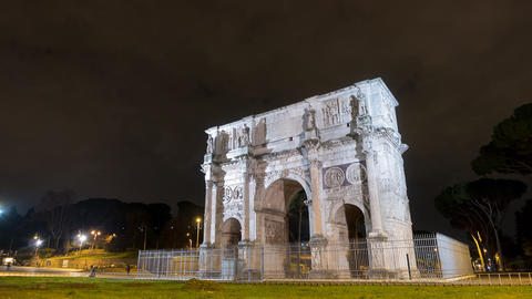 Arch of Constantine at night. Rome. Italy. TimeLapse Footage