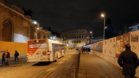 Rome by night. Via dei Fori Imperiali. Rome, Italy Live Action