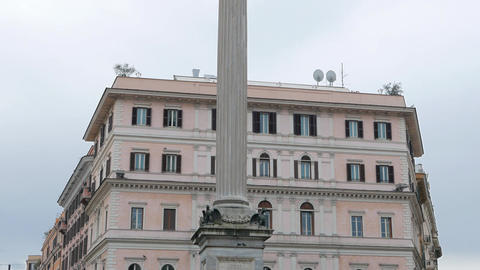 The column on the Piazza di Santa Maria Maggiore. Rome, Italy Footage