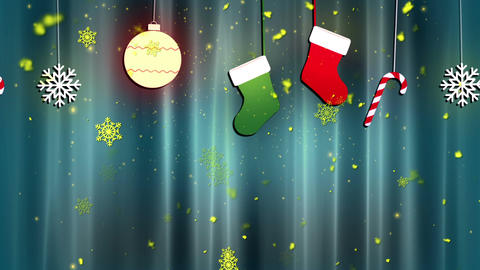 Christmas Cloth Ornaments 4 Loopable Background Animation