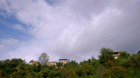 Low angle looking up at houses on the hillside with birds flying in the sky and Footage