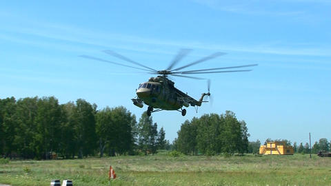 Russian military helicopter landing Live Action