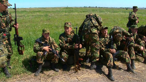 Russian armed soldiers are waiting Live Action