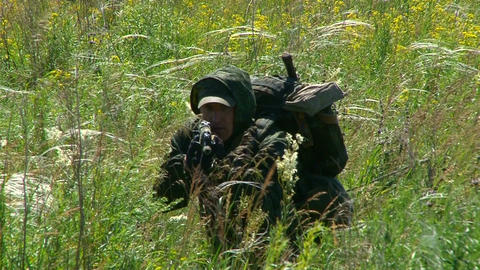 Russian armed soldiers Stock Video Footage