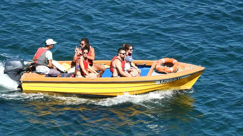 People Riding In Motorboat Footage