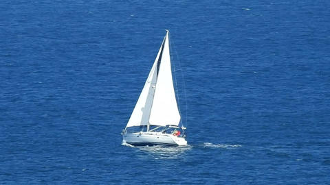Sailboat Sailing In Ocean Live Action