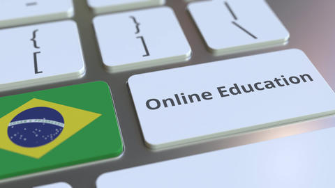 Online Education text and flag of Brazil on the buttons on the computer keyboard Live Action