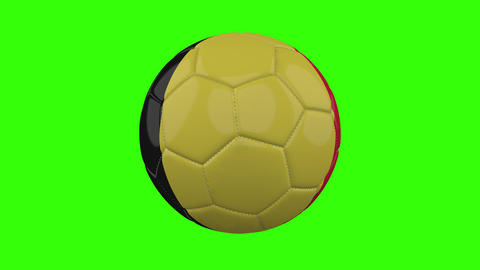 Belgium flag on ball rotates on transparent green alpha background, loop Animation