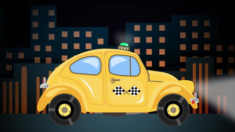 Taxi car animation on city landscape background at night time Animation