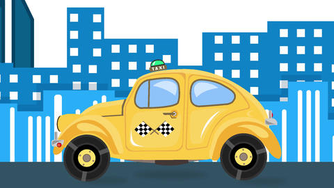 Taxi car animation on city landscape background in day time Animation