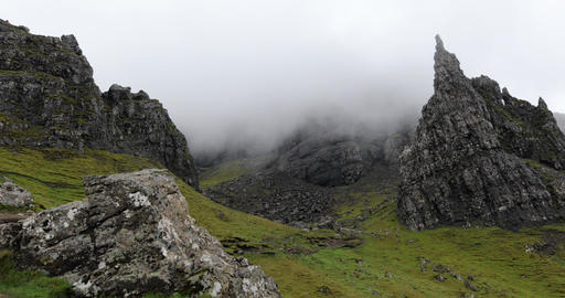 Old Man of Storr on the Isle of Skye in Scotland. Mountain landscape with foggy Live Action