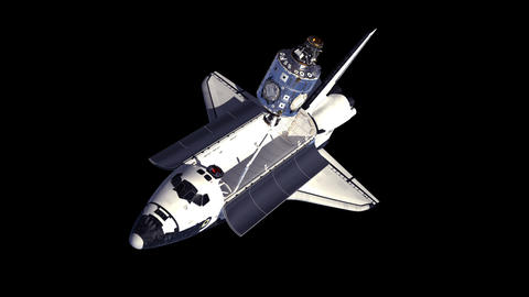 Space Shuttle And Module Of International Space Station. Alpha Matte GIF