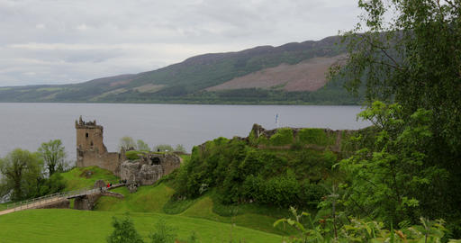 Ancient Scottish medieval castle and beautiful landscape of traditional nature Live Action