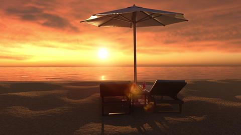 Evening view to paradise tropical beach on sunset Animation