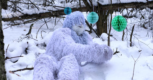 Yeti fairy tale character in winter forest. 3 in 1 outdoor fantasy 4K footage Live Action