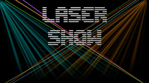 Laser show, white digital lettering on black background with multicolored moving Animation