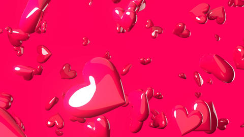 Falling pink heart objects in pink background. Cute heart-shape abstract Animation