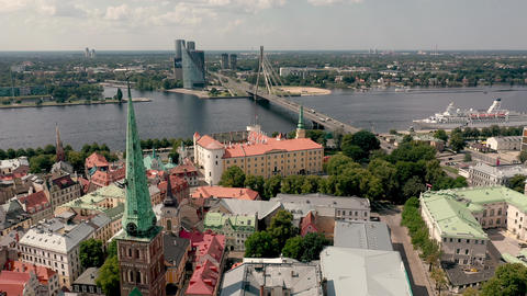 RIGA, LATVIA - MAY, 2019: Aerial panorama view of the Presidential residence and Live Action
