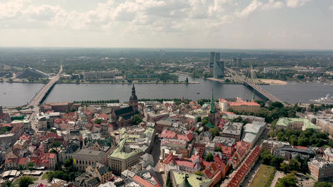 RIGA, LATVIA - MAY, 2019: Aerial panorama view of the historic city center of Live Action