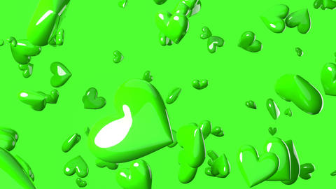 Falling green heart objects in green background. Cute heart-shape abstract animation Animation