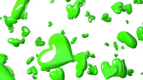 Falling green heart objects in white background. Cute heart-shape abstract animation Animation