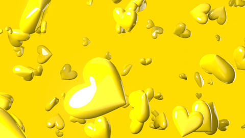 Falling yellow heart objects in yellow background. Cute heart-shape abstract animation Animation