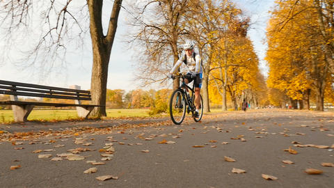 A cyclist rides past the camera. Autumn park with fallen yellow leaves. Slow Live Action