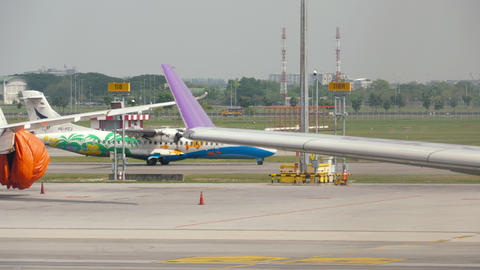 Bangkok airways turboprop airplane taxiing Live Action