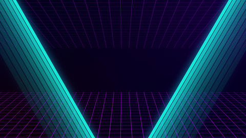 VHS retro animation with appearing neon triangle and text grade d The grid moves Live Action