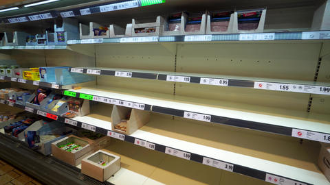 Granada Spain 14 March , 2020: Empty shelves in grocery stores. Panic from the Live Action
