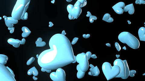 Falling pale blue heart objects in black background. Cute heart-shape abstract animation Animation