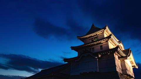 4K Historical Japanese Castle Sunset Sky Timelapse Ancient Castle Sunset Live Action